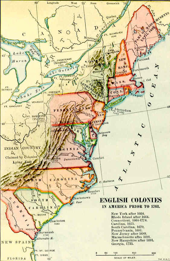 Map of American Colonies in 1763