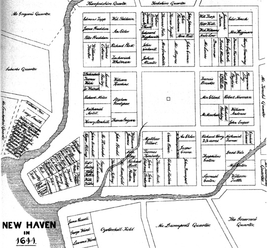 Map of New Haven in 1641